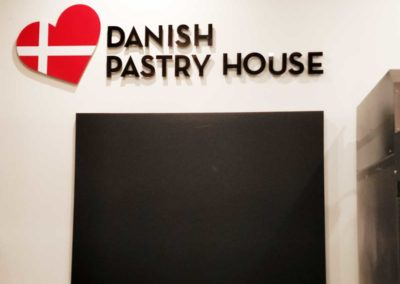 Danish Pastry House acrylic indoor sign pin mounted