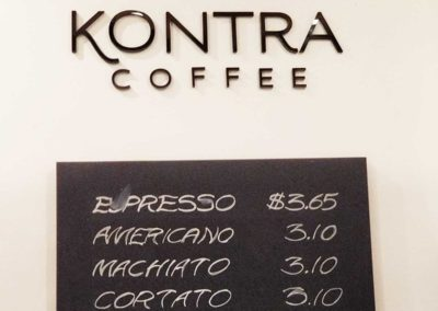 Kontra Coffee acrylic flush mount sign
